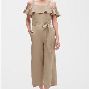 Banana Republic off-shoulder TENCEL khaki jumpsuit